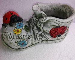 A7-Ceramic Boot Planter -Ladybug